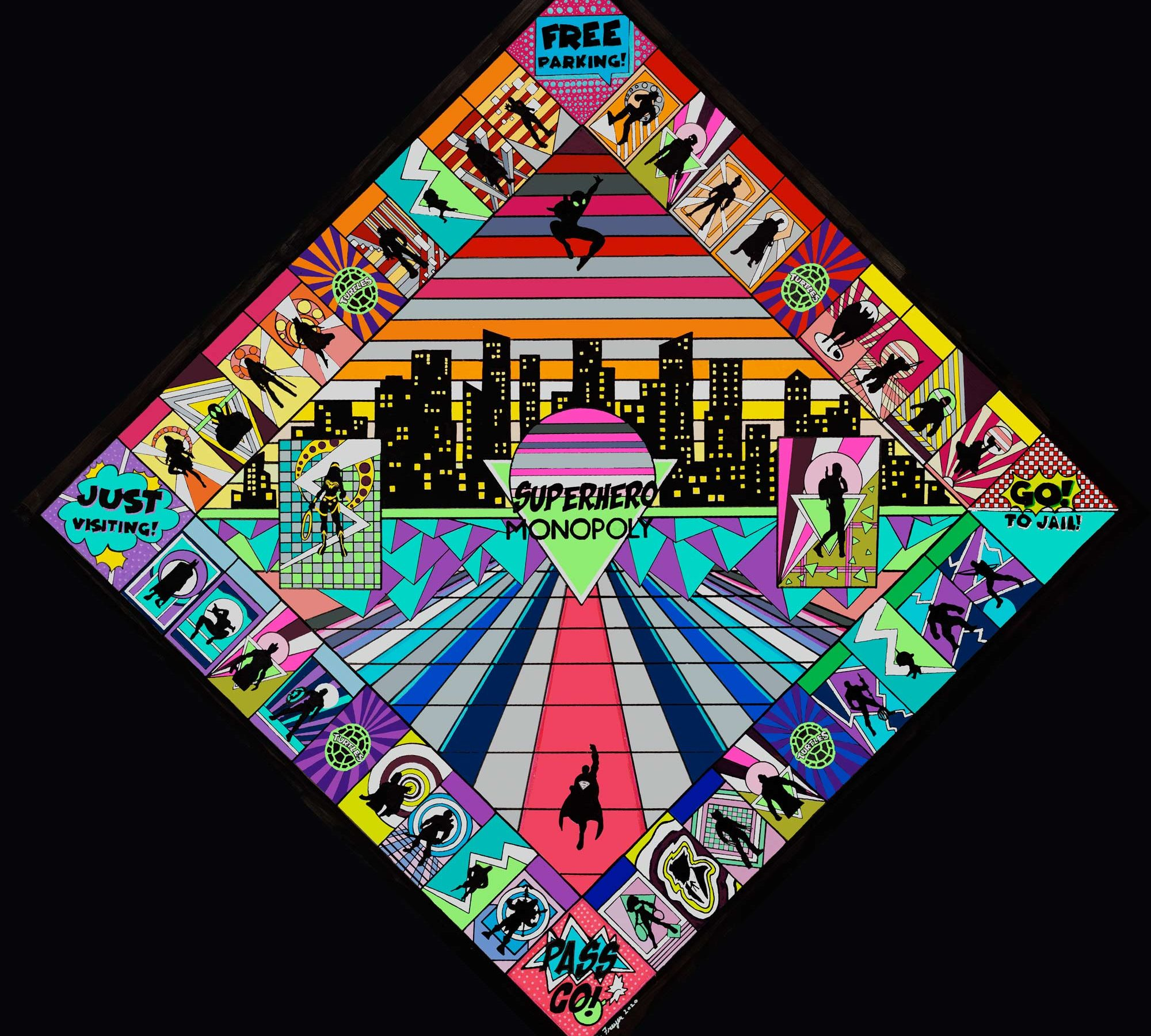 Superhero Monopoly art piece produced by Chris Freyer in 2020