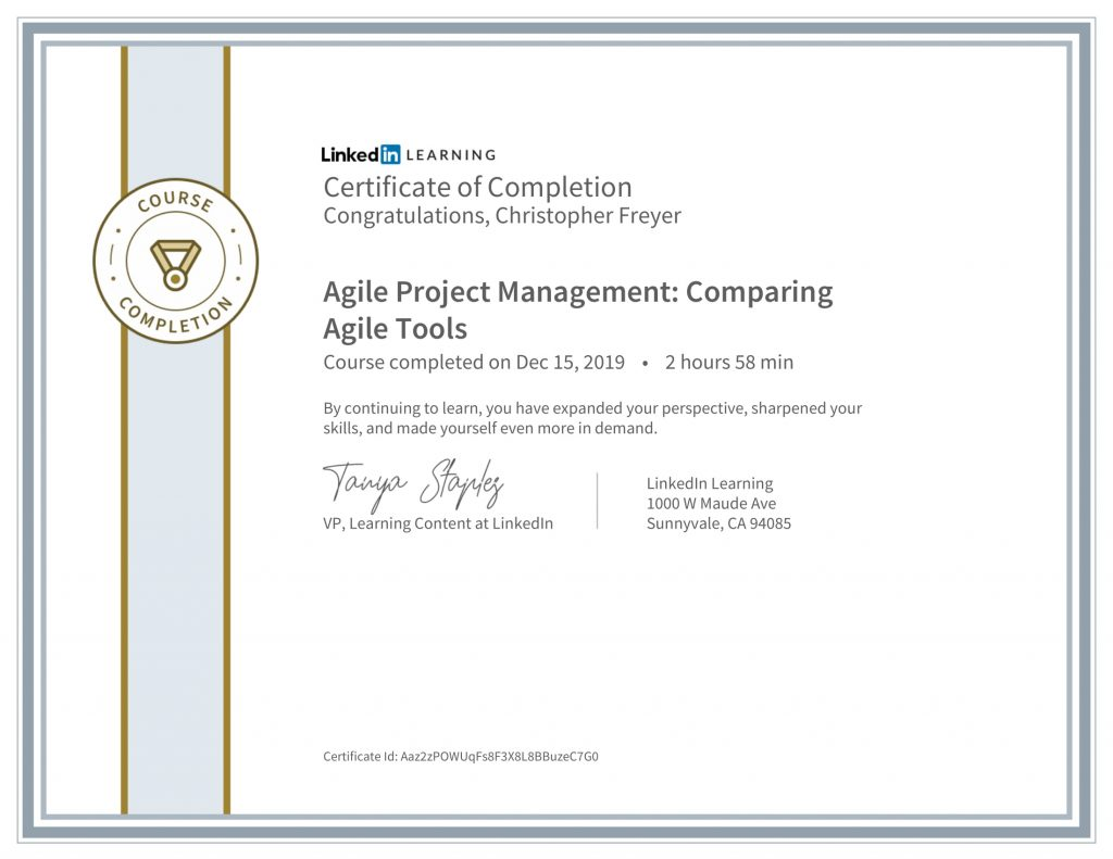 CertificateOfCompletion_Agile Project Management_ Comparing Agile Tools-Chris-Freyer-1