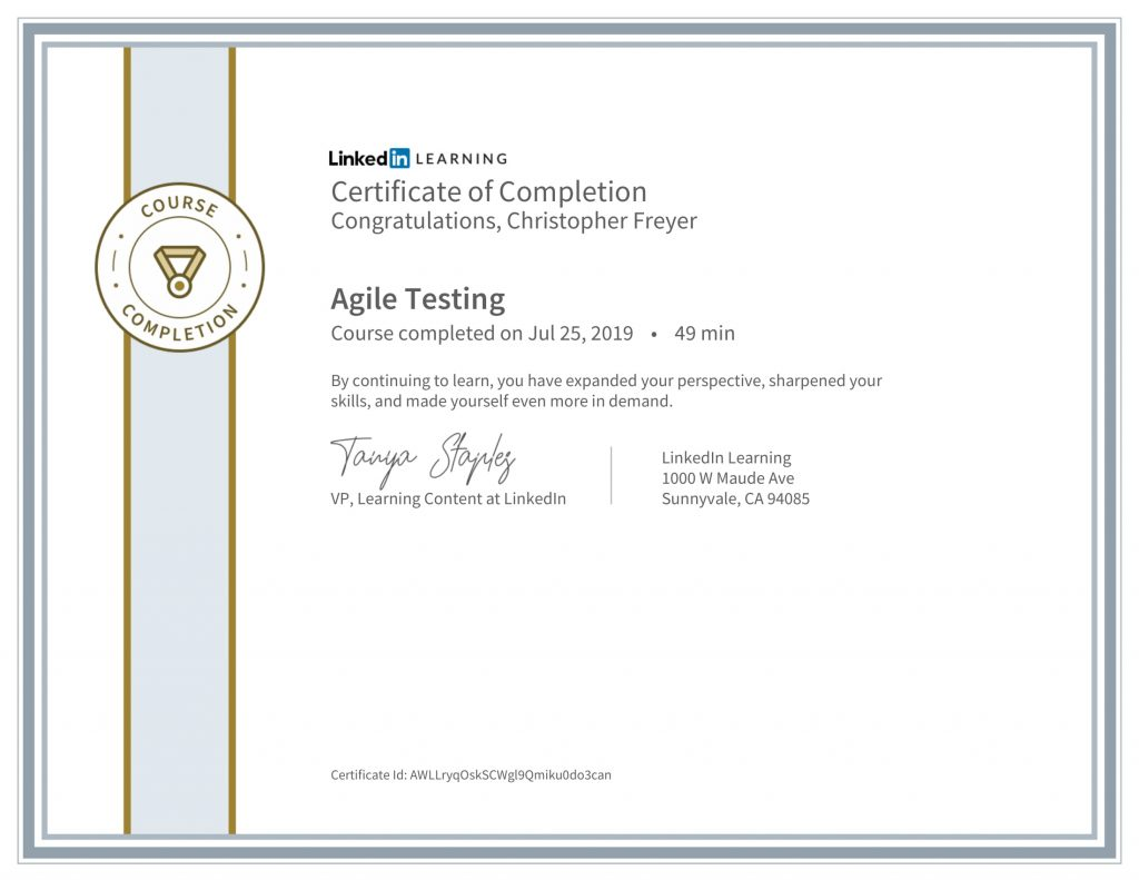 CertificateOfCompletion_Agile Testing-Chris-Freyer-1