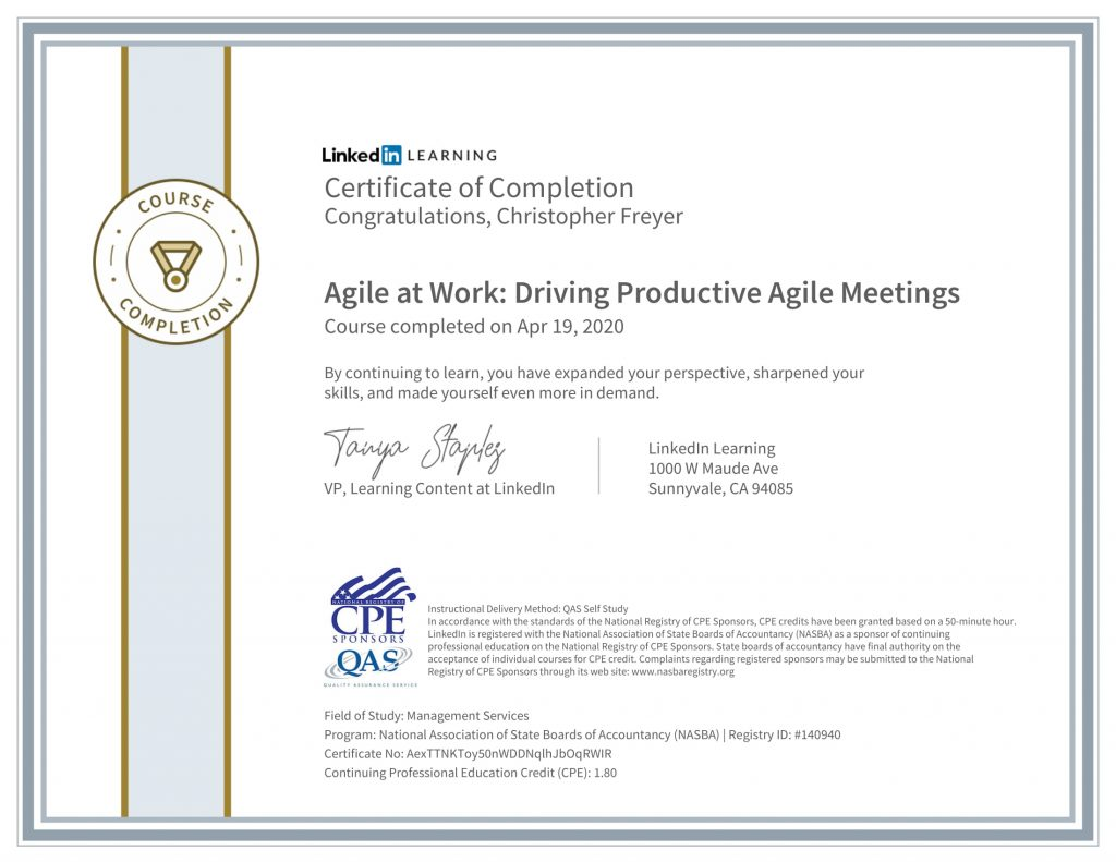 CertificateOfCompletion_Agile at Work_ Driving Productive Agile Meetings-1-Chris-Freyer