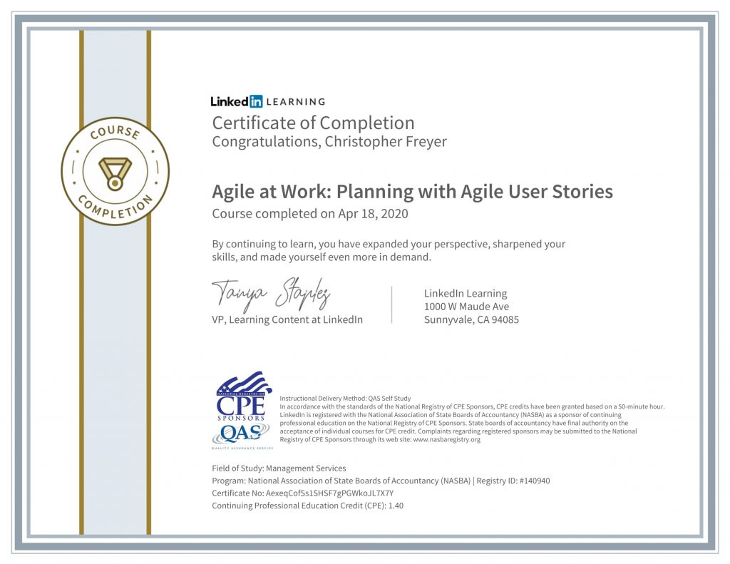 CertificateOfCompletion_Agile at Work_ Planning with Agile User Stories-1-Chris-Freyer