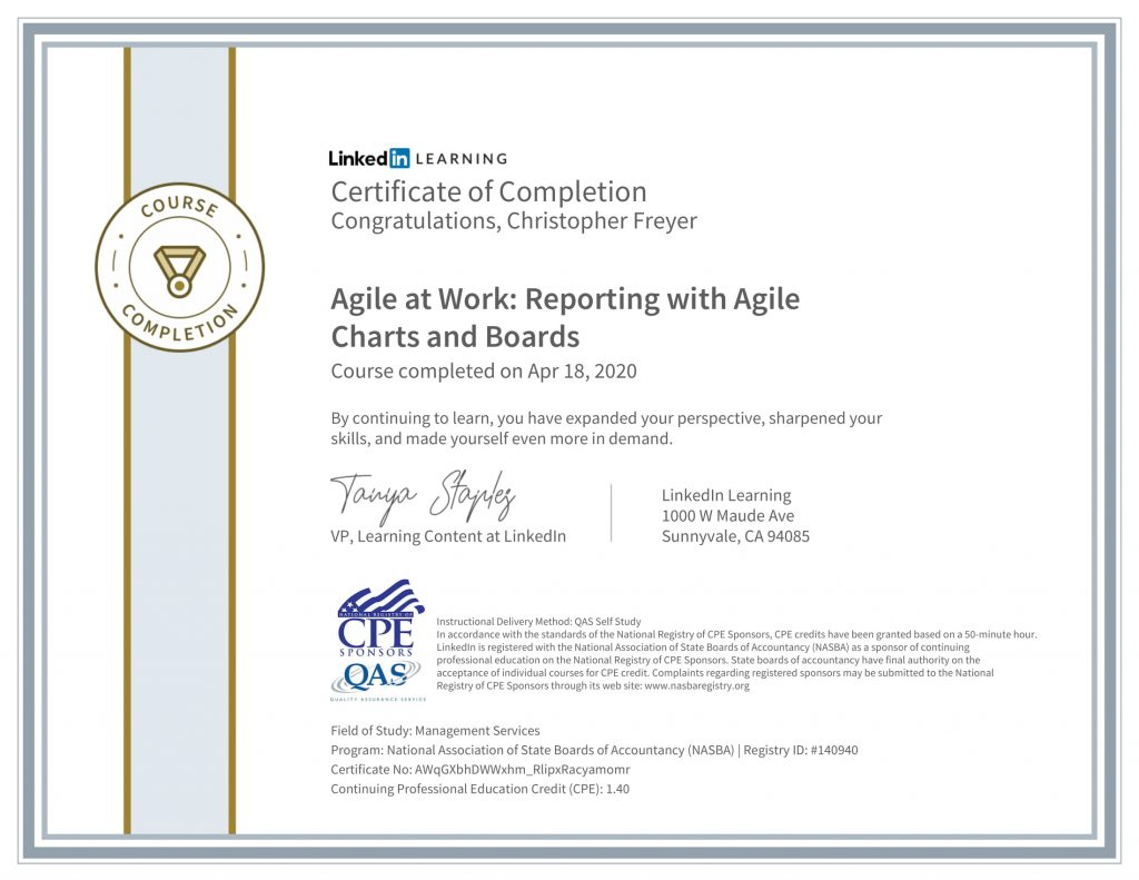CertificateOfCompletion_Agile at Work_ Reporting with Agile Charts and Boards-1-Chris-Freyer