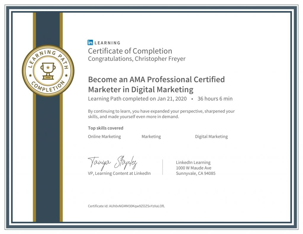 CertificateOfCompletion_Become a AMA Digital Marketing Professional-Chris Freyer-1