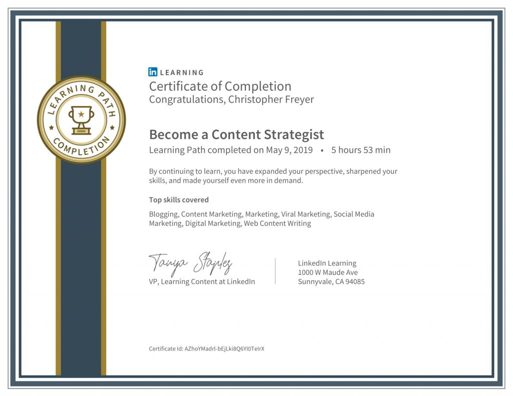 CertificateOfCompletion_Become a Content Strategist-Chris-Freyer-1