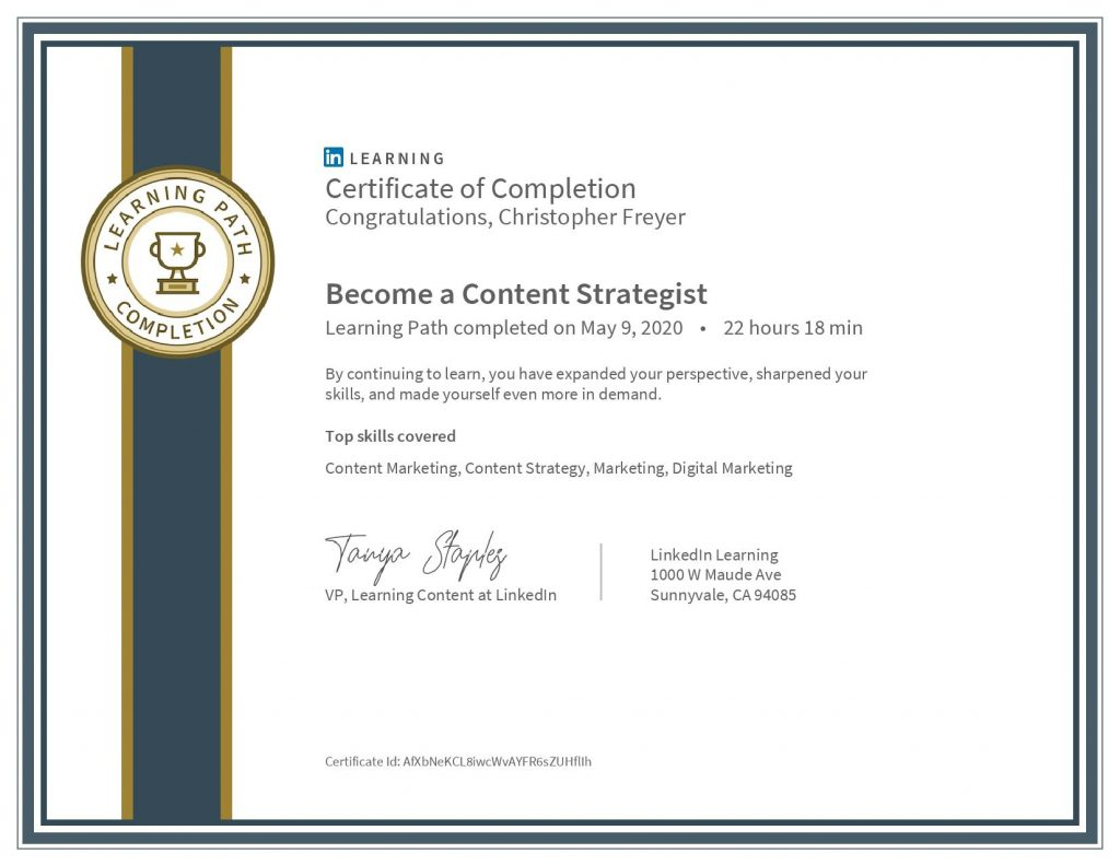 CertificateOfCompletion_Become a Content Strategist-Chris-Freyer