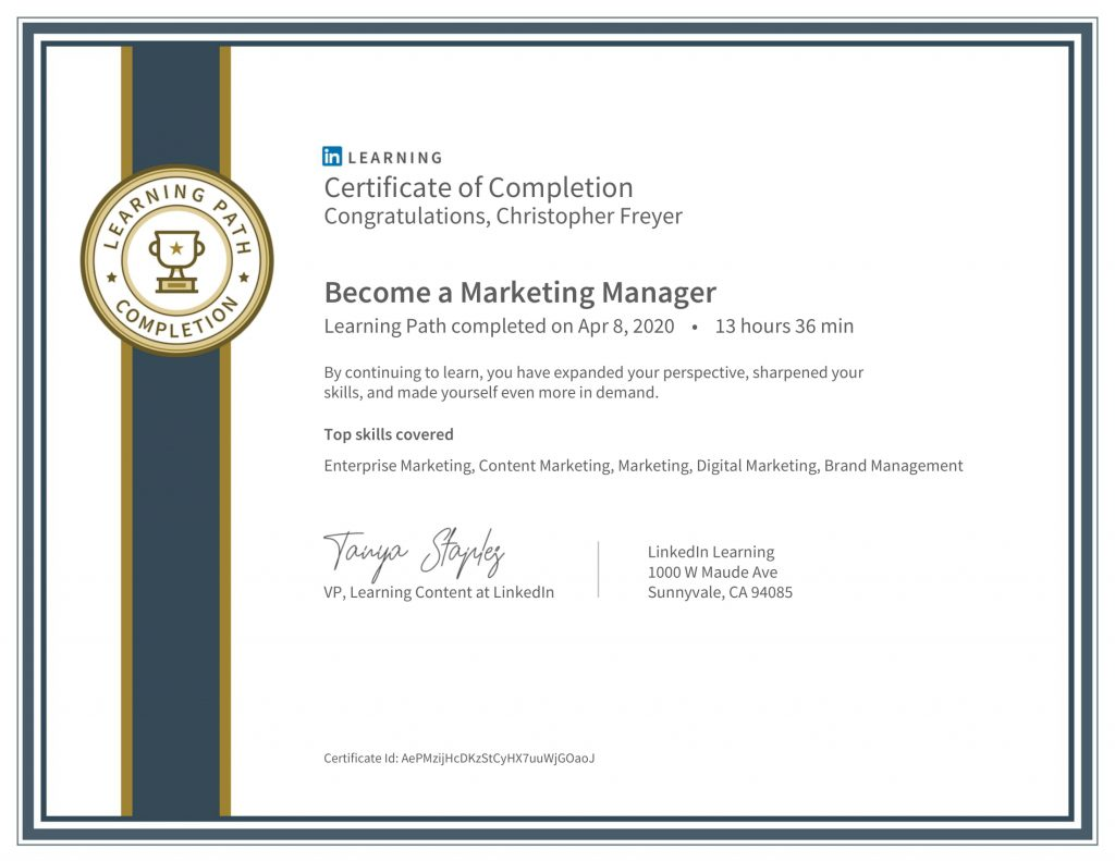 CertificateOfCompletion_Become a Marketing Manager-Chris-Freyer-1