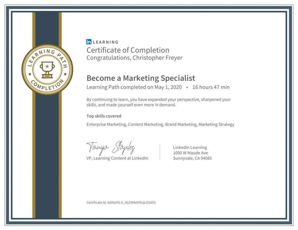 CertificateOfCompletion_Become a Marketing Specialist-Chris-Freyer-1
