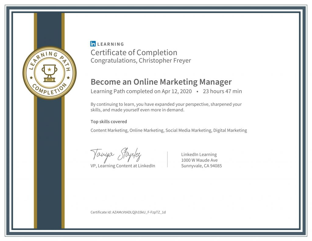 CertificateOfCompletion_Become an Online Marketing Manager-Chris-Freyer-1