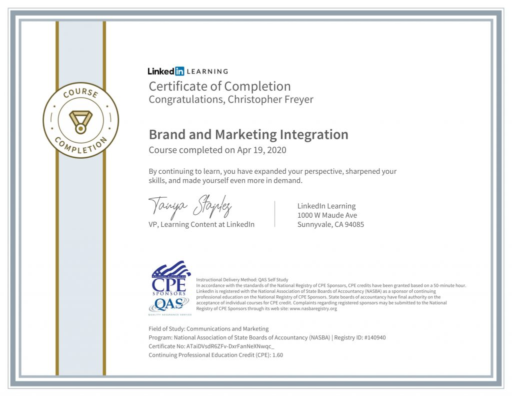 CertificateOfCompletion_Brand and Marketing Integration-1-Chris-Freyer