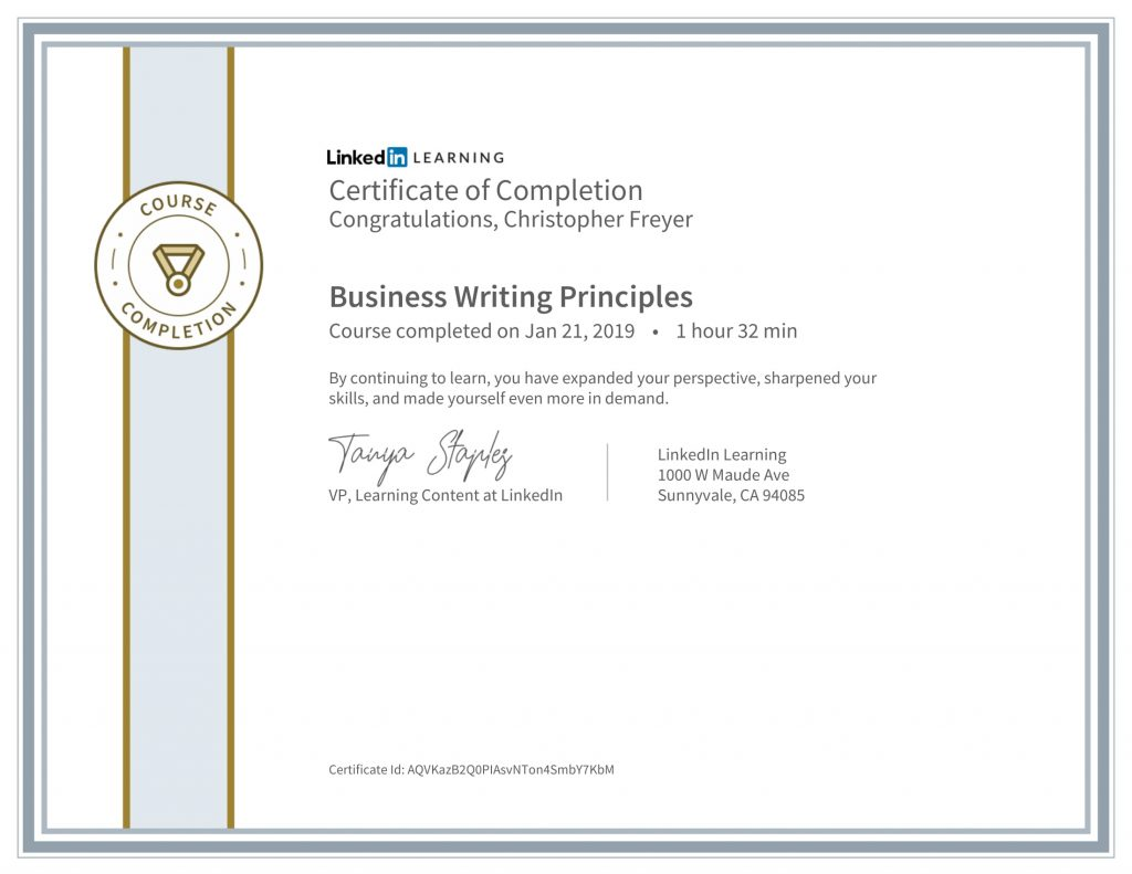 CertificateOfCompletion_Business Writing Principles-Chris-Freyer-1