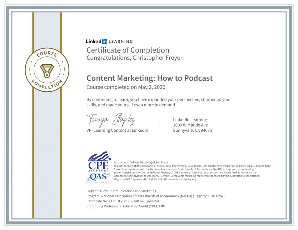 CertificateOfCompletion_Content Marketing_ How to Podcast(1)-1-Chris-Freyer