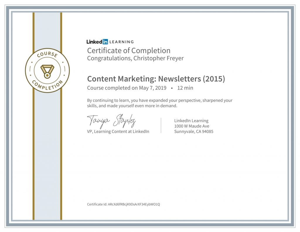 CertificateOfCompletion_Content Marketing_ Newsletters (2015)-Chris-Freyer-1