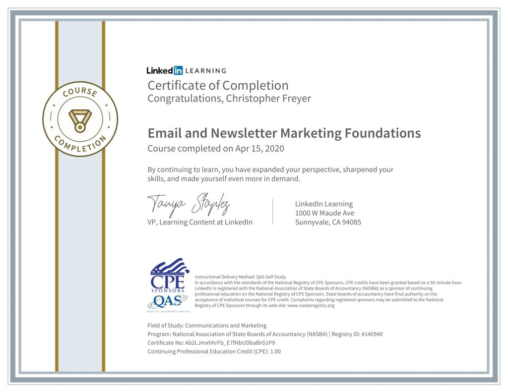 CertificateOfCompletion_Email and Newsletter Marketing Foundations-1-Chris-Freyer