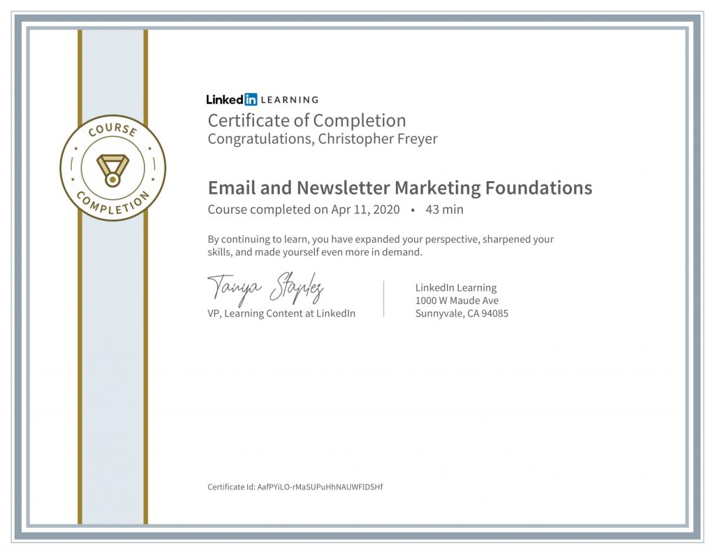CertificateOfCompletion_Email and Newsletter Marketing Foundations-Chris-Freyer-1