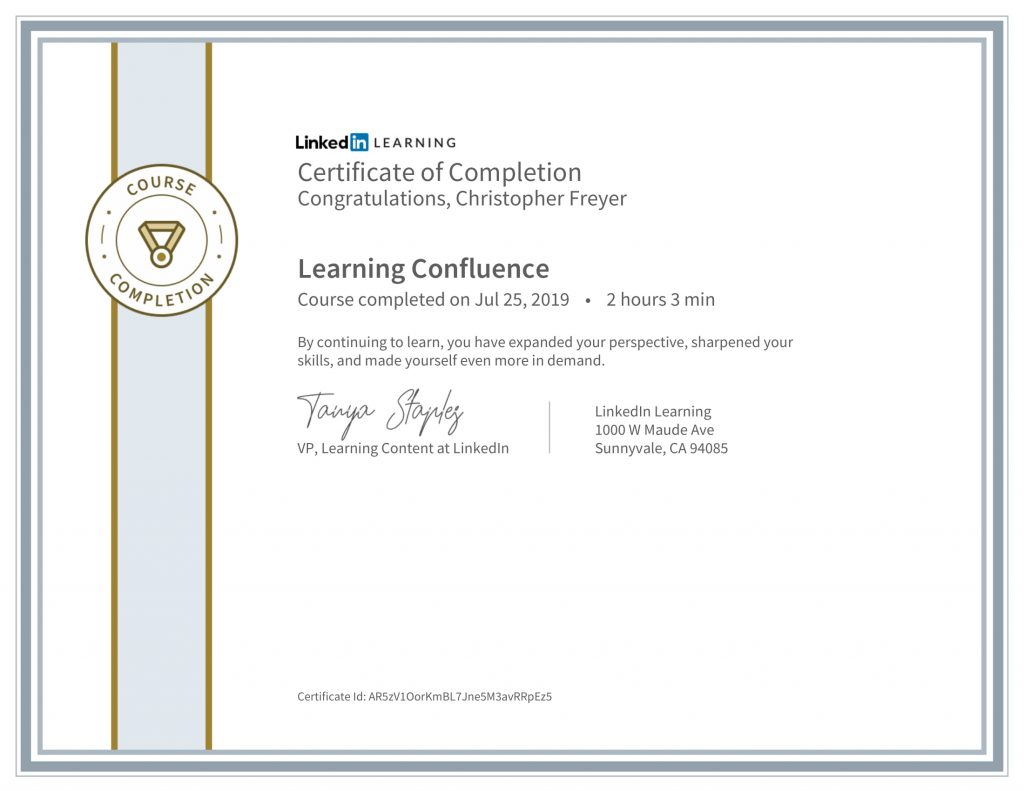 CertificateOfCompletion_Learning Confluence-Chris-Freyer-1