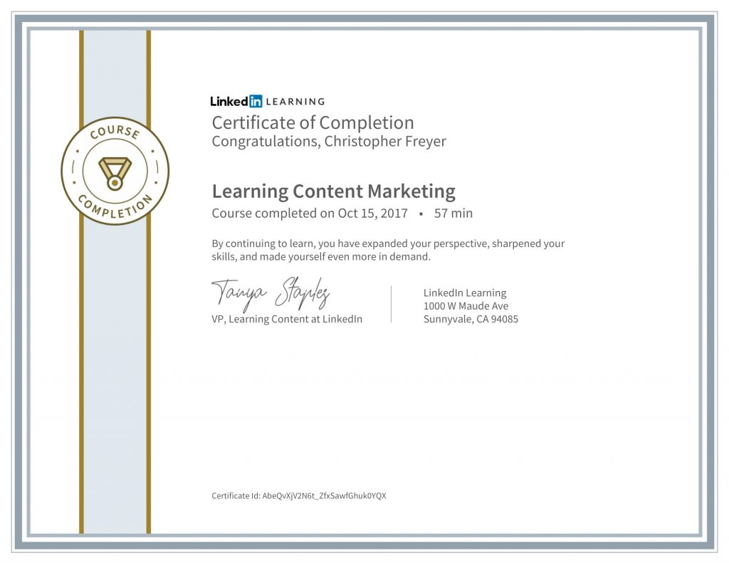 CertificateOfCompletion_Learning Content Marketing-Chris-Freyer-1