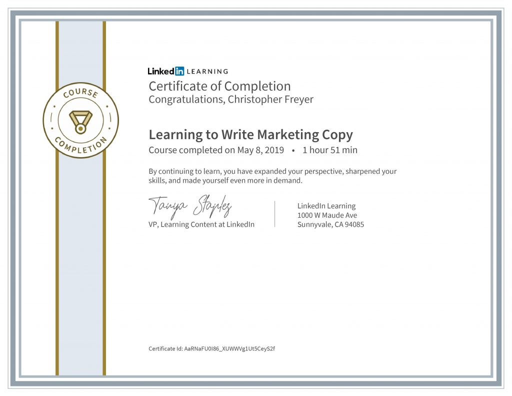 CertificateOfCompletion_Learning to Write Marketing Copy-Chris Freyer