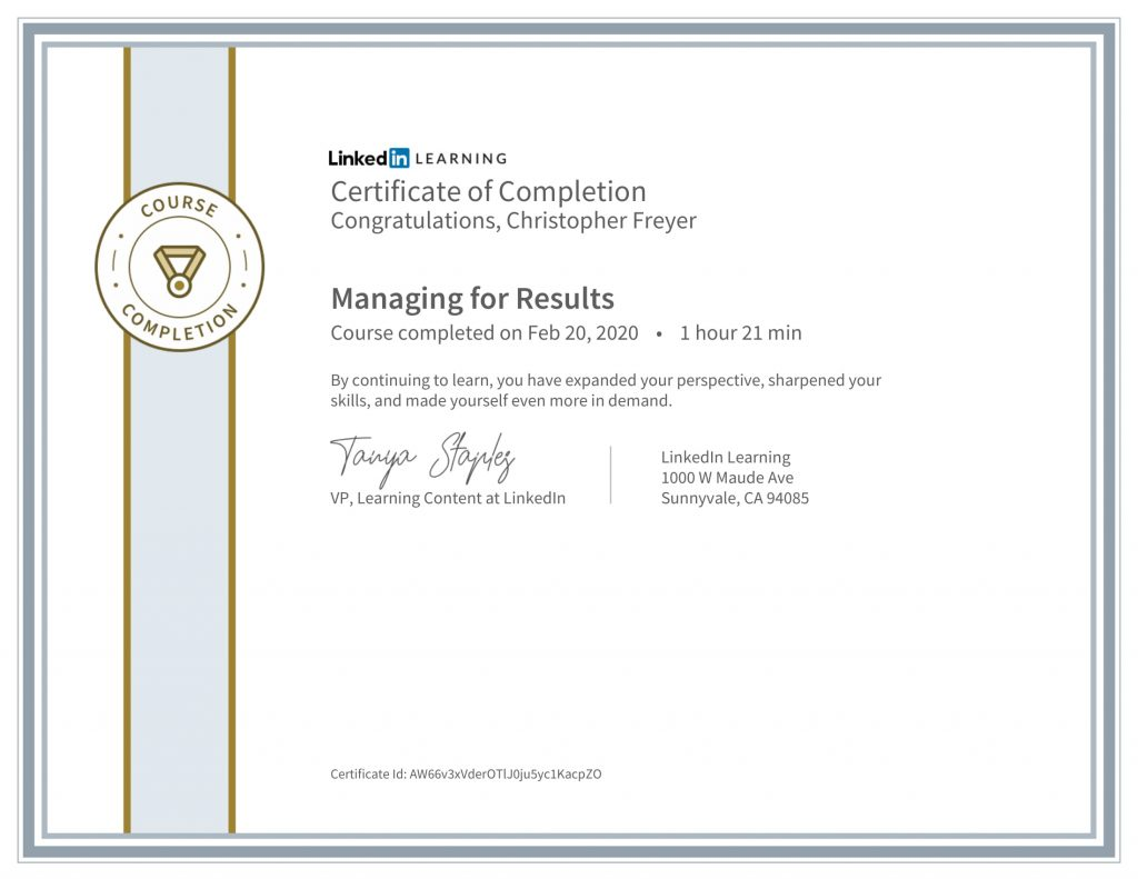 CertificateOfCompletion_Managing for Results-Chris-Freyer-1
