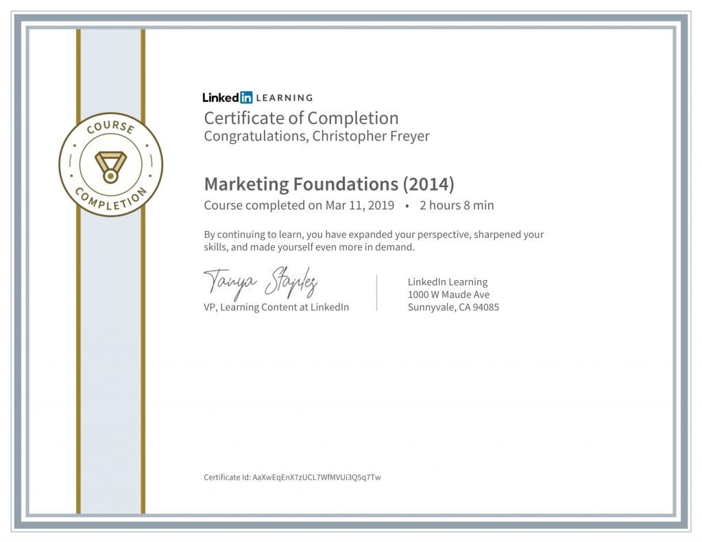 CertificateOfCompletion_Marketing Foundations (2014)-Chris-Freyer-1