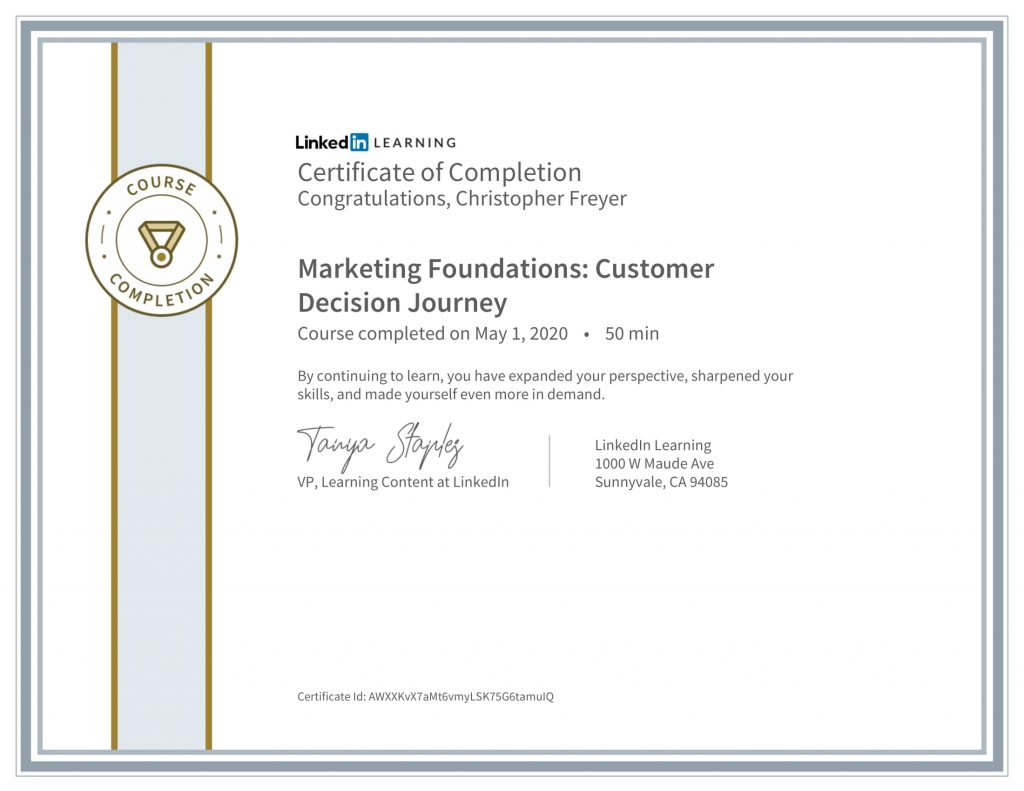CertificateOfCompletion_Marketing Foundations_ Customer Decision Journey-Chris-Freyer-1