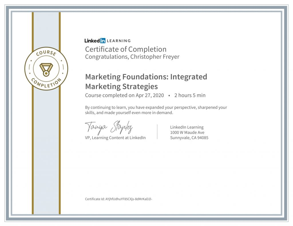 CertificateOfCompletion_Marketing Foundations_ Integrated Marketing Strategies-Chris-Freyer-1