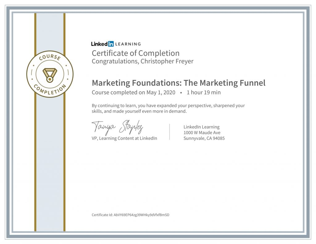 CertificateOfCompletion_Marketing Foundations_ The Marketing Funnel-Chris-Freyer-1