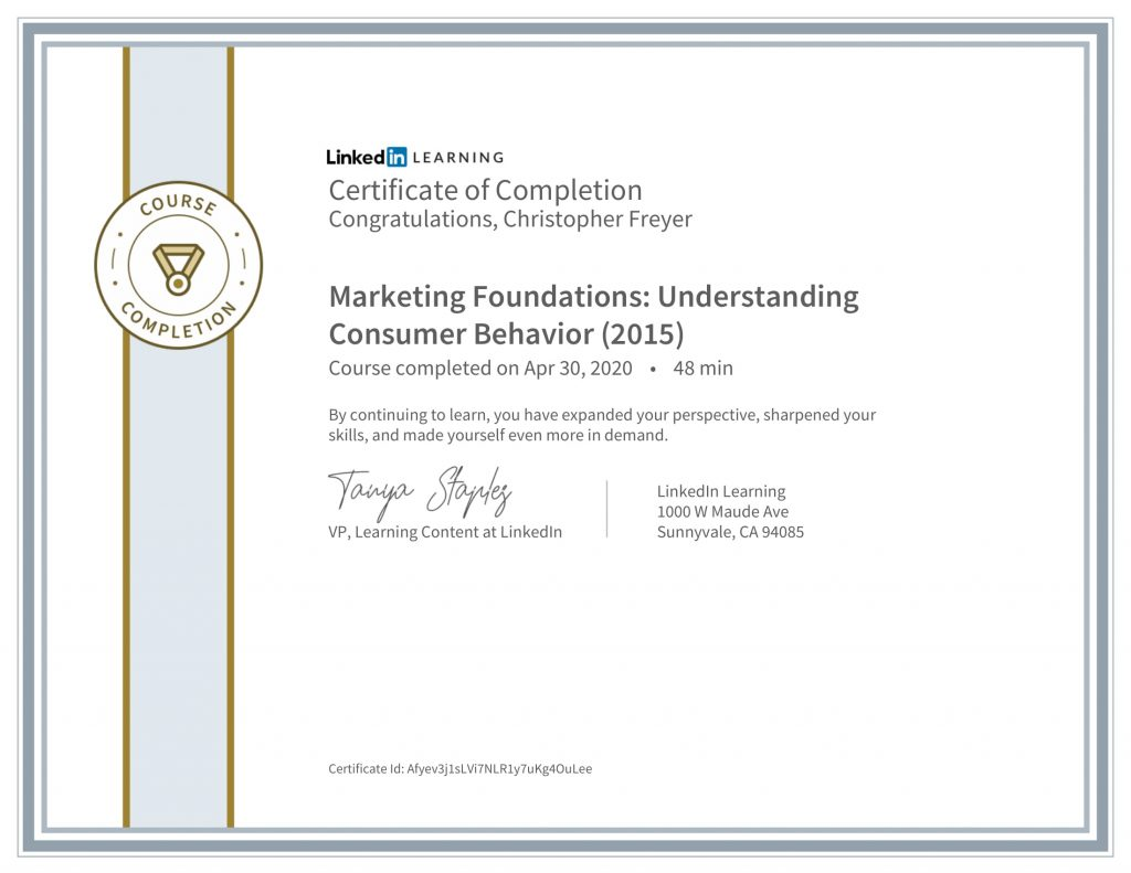 CertificateOfCompletion_Marketing Foundations_ Understanding Consumer Behavior (2015)-Chris-Freyer-1