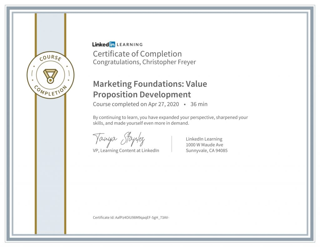 CertificateOfCompletion_Marketing Foundations_ Value Proposition Development(1)-Chris-Freyer-1