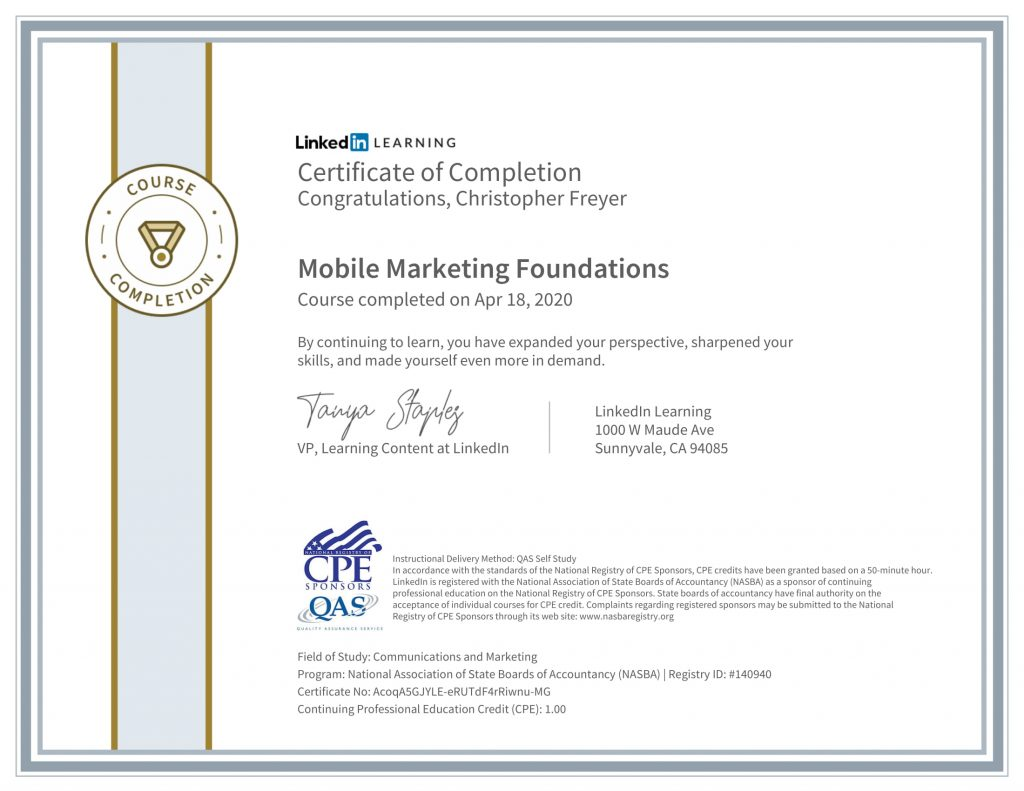 CertificateOfCompletion_Mobile Marketing Foundations-1-Chris-Freyer