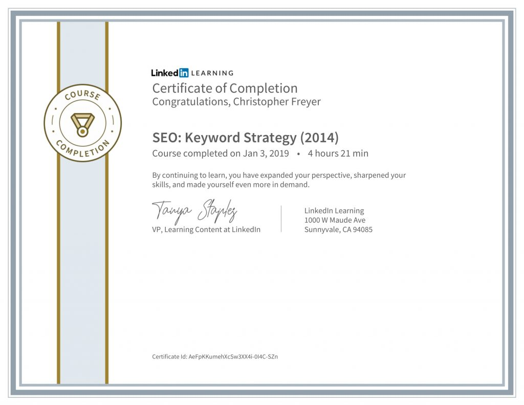 CertificateOfCompletion_SEO_ Keyword Strategy (2014)-Chris-Freyer-1