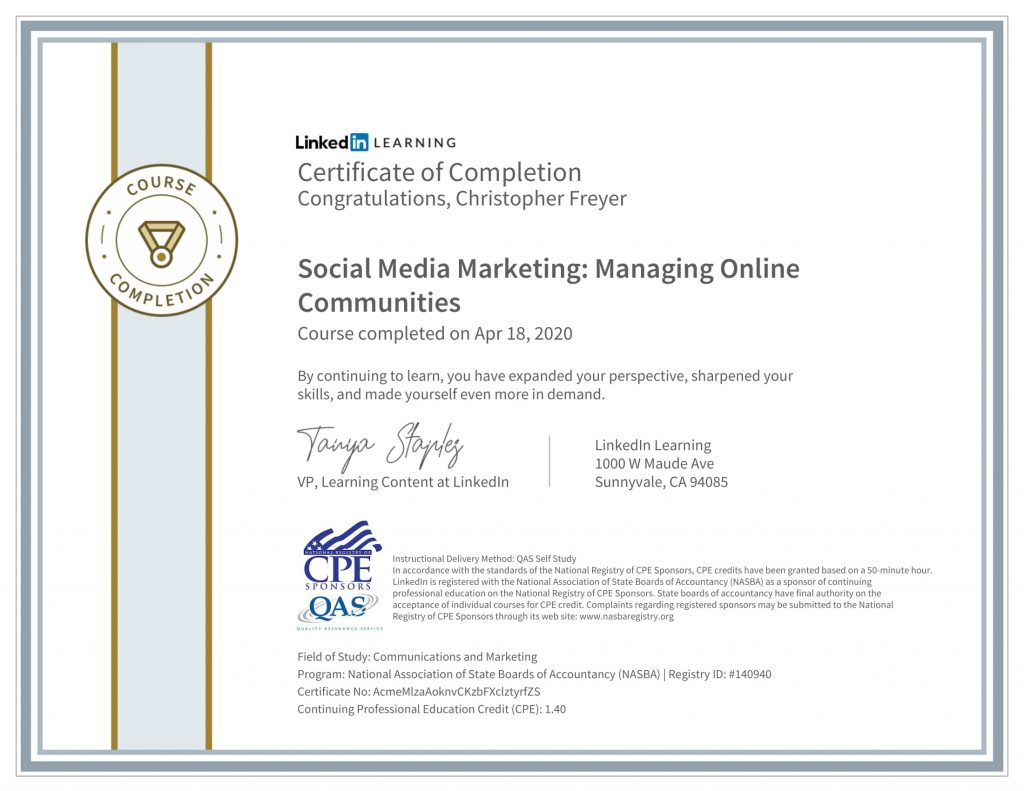 CertificateOfCompletion_Social Media Marketing_ Managing Online Communities-1-Chris-Freyer