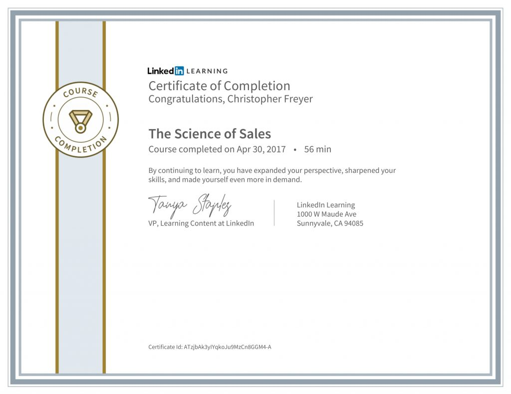 CertificateOfCompletion_The Science of Sales-Chris-Freyer-1