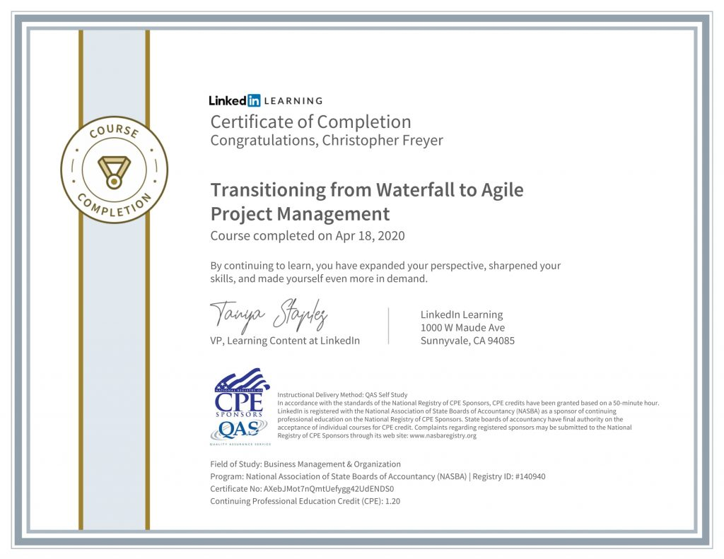 CertificateOfCompletion_Transitioning from Waterfall to Agile Project Management-1-Chris-Freyer