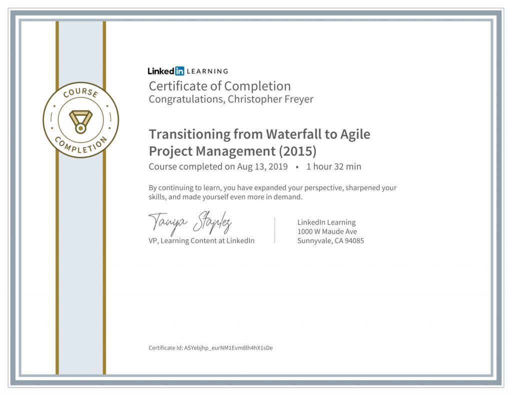 CertificateOfCompletion_Transitioning from Waterfall to Agile Project Management (2015)-Chris-Freyer-1
