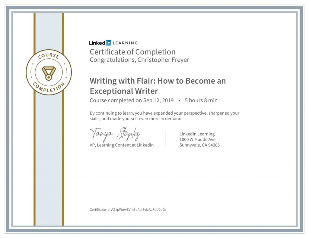 CertificateOfCompletion_Writing With Flair How To Become An Exceptional Writer-Chris-Freyer-1