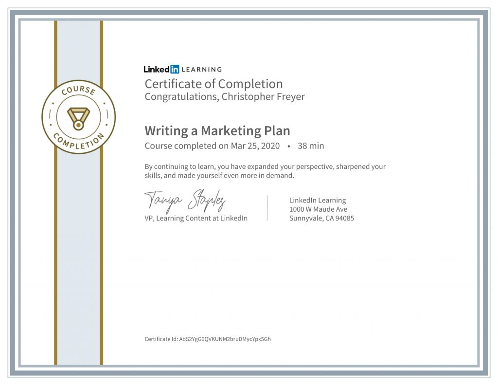 CertificateOfCompletion_Writing a Marketing Plan-Chris-Freyer-1