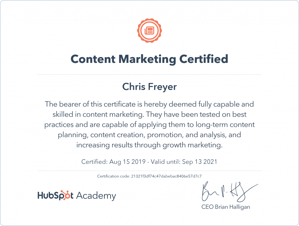 Content Marketing Certified-Chris-Freyer