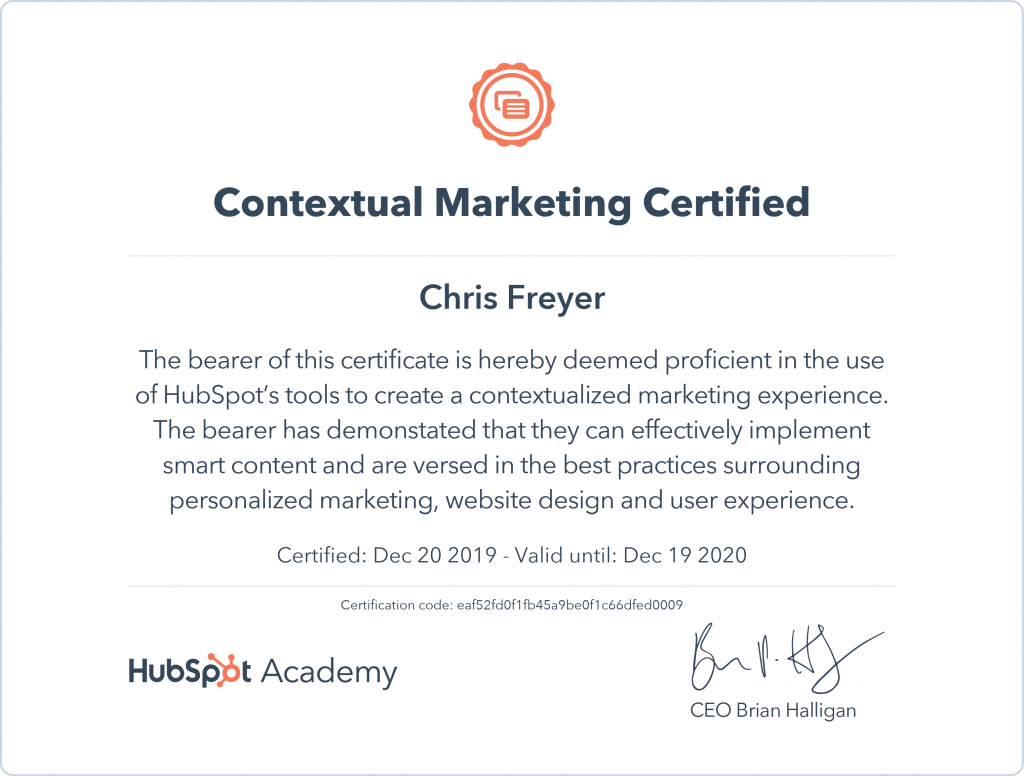 Contextual Marketing Certified-Chris-Freyer