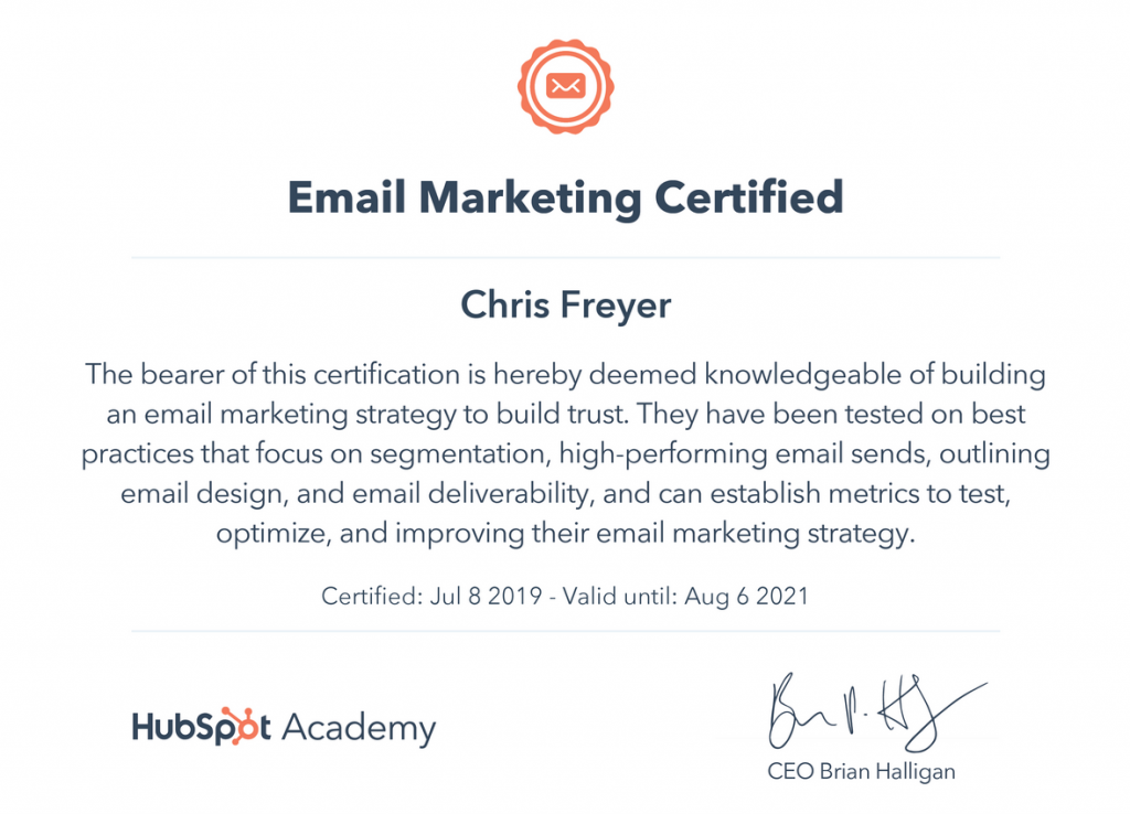 Email Marketing Certified-Chris-Freyer