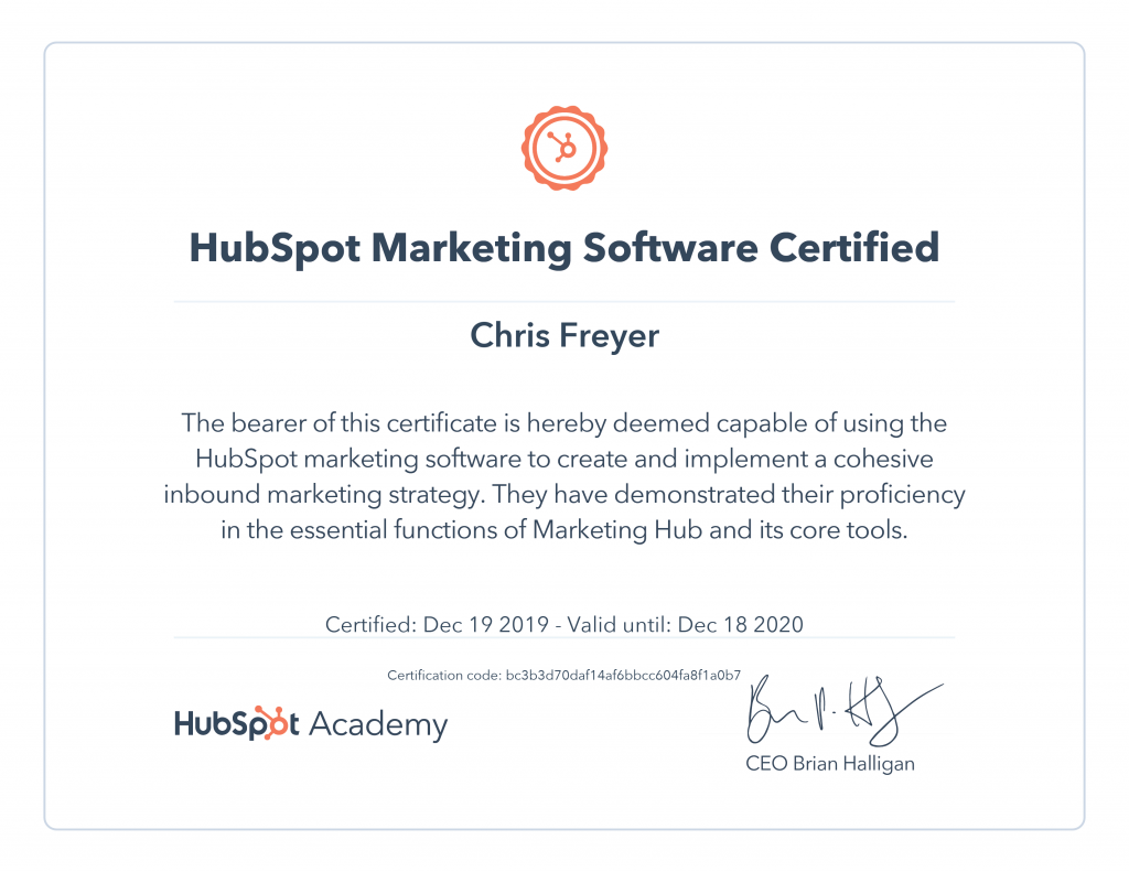 Hubspot Marketing Software Certified-Chris-Freyer