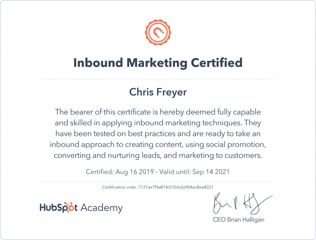 Inbound Marketing Certified-Chris-Freyer