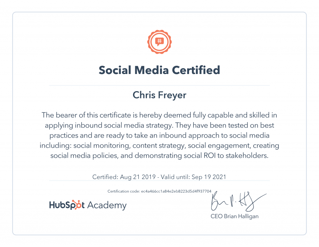 Social Media Marketing Certified-Chris-Freyer