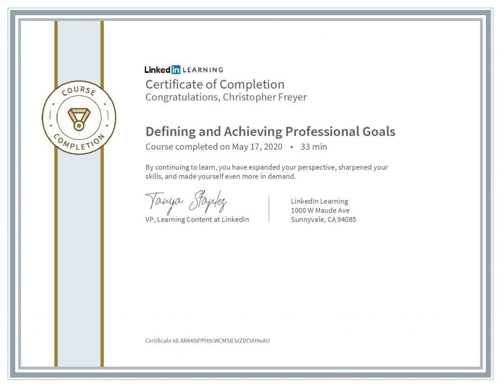 chris-freyer-CertificateOfCompletion_Defining and Achieving Professional Goals