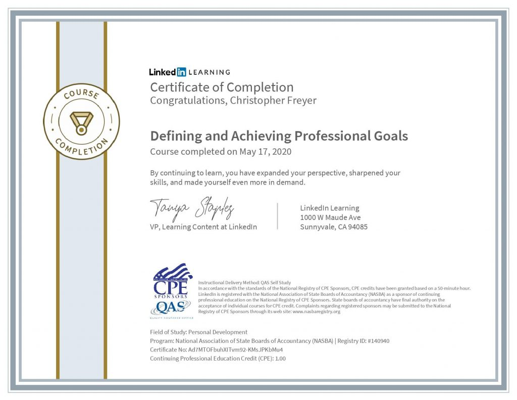 chris-freyer-CertificateOfCompletion_Defining and Achieving Professional Goals(1)