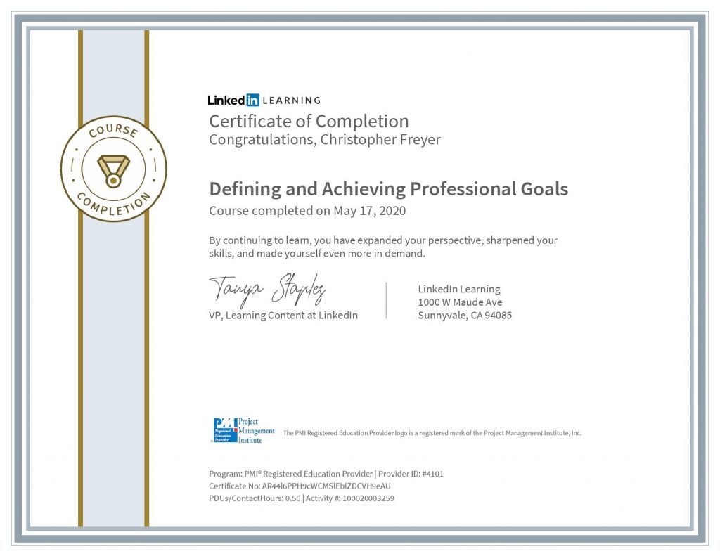 chris-freyer-CertificateOfCompletion_Defining and Achieving Professional Goals(2)
