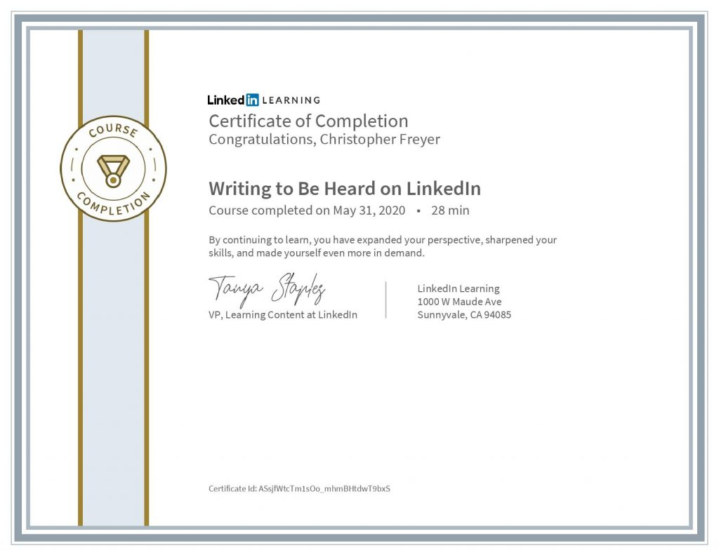 chris-freyer-CertificateOfCompletion_Writing to Be Heard on LinkedIn
